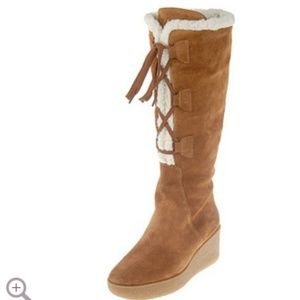 MICHAEL Michael Kors Suede Wedge Boots Faux Shearl